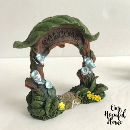 ceramic fairy garden welcome arch figurine flowers