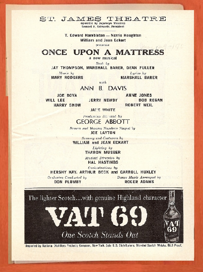 once upon a mattress broadway poster. Ann B. Davis Replaced Carol Burnett In \ Once Upon A Mattress Broadway Poster