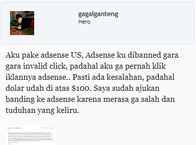 Thread di forum ads.id oleh Id gagalganteng yang dibanned AdSensenya