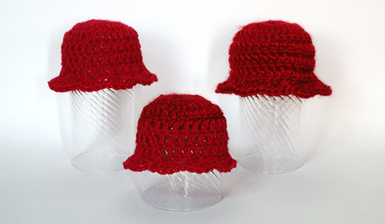 Red Crochet Preemie Hats for Girls