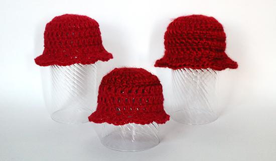 Red Crochet Preemie Hats for Girls