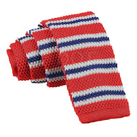 MENS KNITTED RED WITH BLUE AND WHITE THIN STRIPES TIE