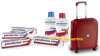 Logo Concorso Parodontax : vinci 390 Trolley cabina Roncato e non solo