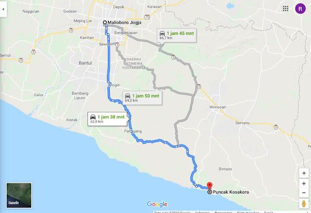 Rute dan lokasi bukit Kosakora