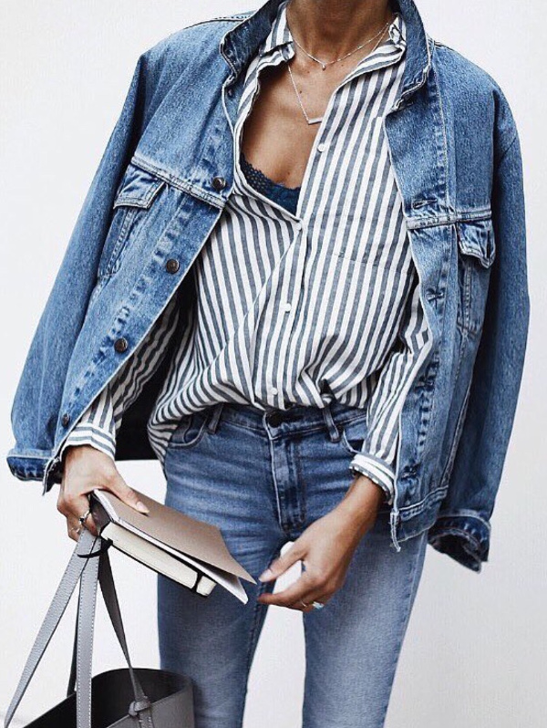 how to mix denim with stripes: street style idea