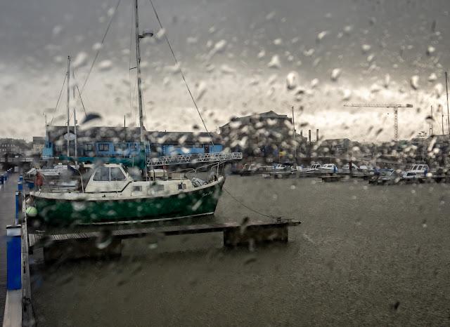 Photo of wet weather at Maryport Marina on Wednesday