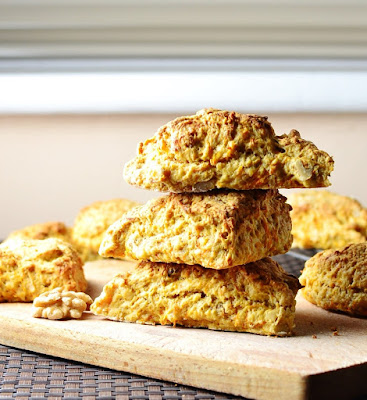 Carrot and walnut scones, made with skyr, are quick and easy to make.  Perfect for a family picnic