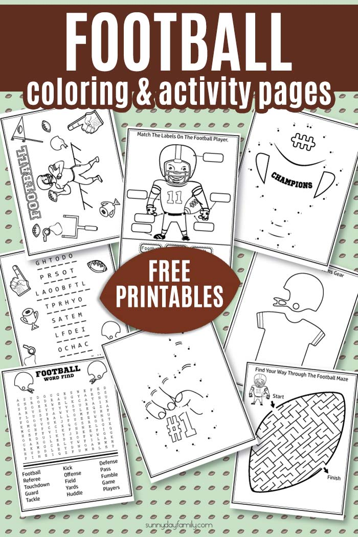 FREE Football Activity Pack for kids! Super cute football coloring pages, football word puzzles, football maze, football dot to dot and more. 8 total sports coloring pages that your kids will love! Perfect for kid friendly Super Bowl party activities. #footballmom #coloringpages #kidsactivities #freeprintables