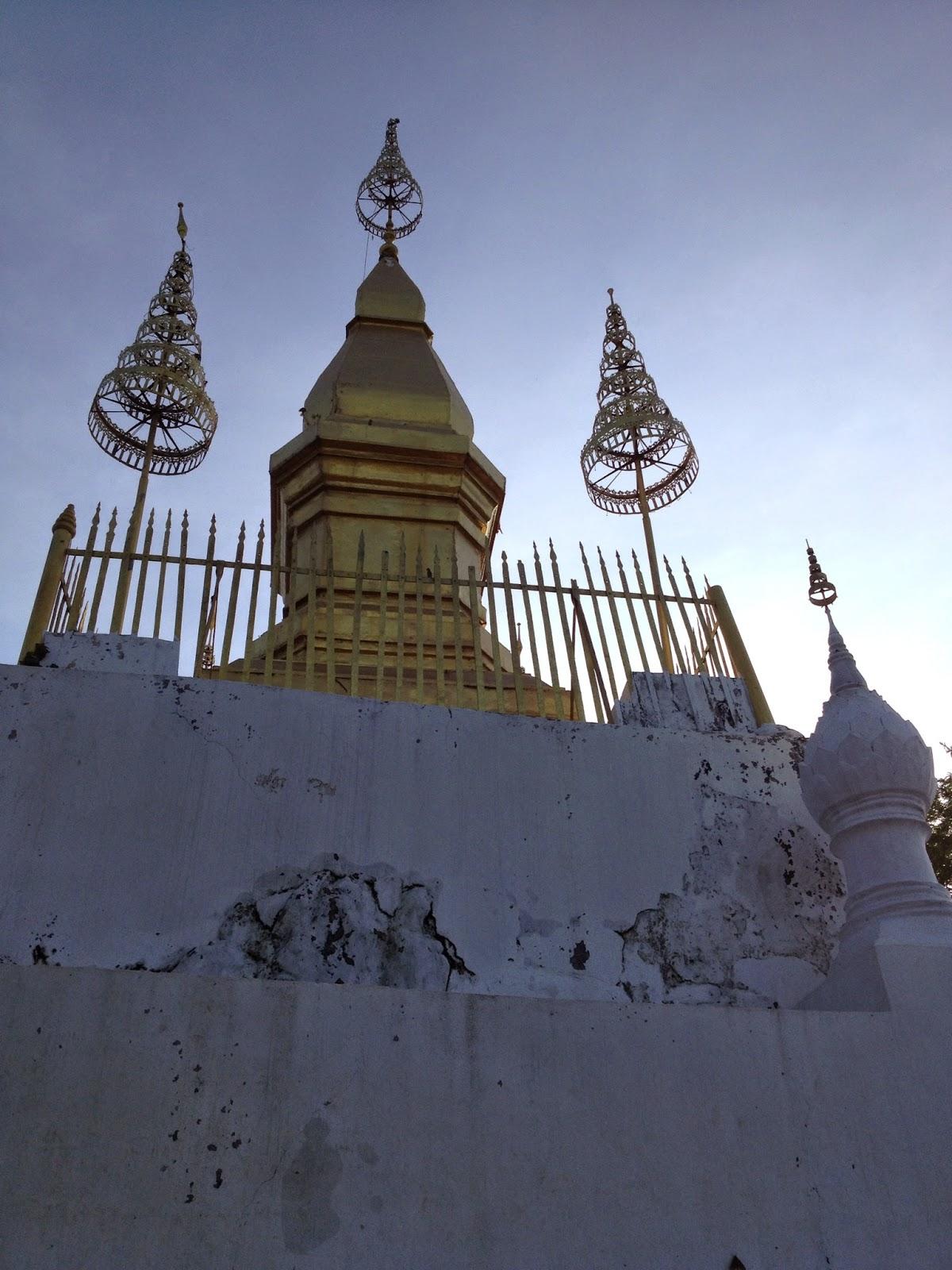 Luang Prabang - That Chomsi pagoda on Phousi Hill
