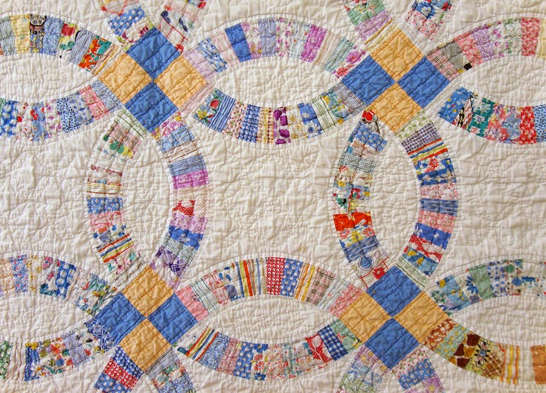 Vintage wedding ring quilt, family heirloom of Robin Atkins