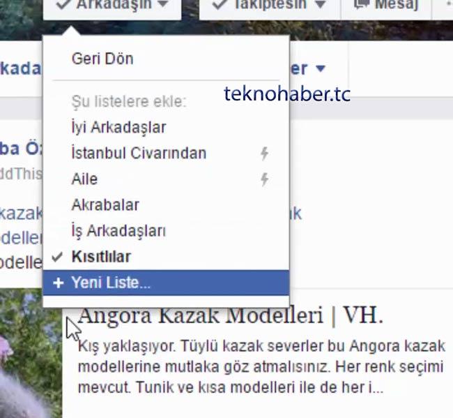 Facebook Kısıtlılar Listesi