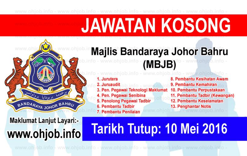 Jawatan Kerja Kosong Majlis Bandaraya Johor Bahru (MBJB) logo www.ohjob.info mei 2016