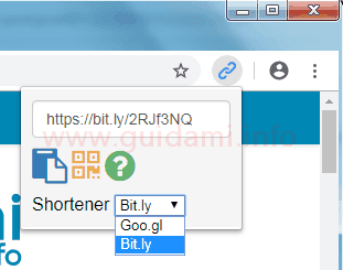 Pulsante e menu estensione Url Shortener per Chrome