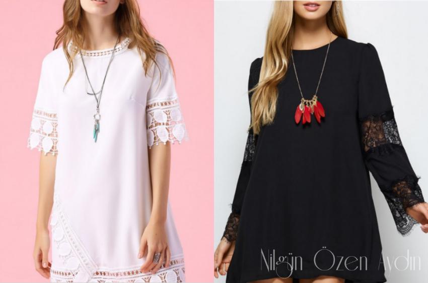 alışveriş-dantel detaylı elbiseler-lace shift dress-Zaful