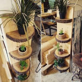 Estantería interior rústica para plantas