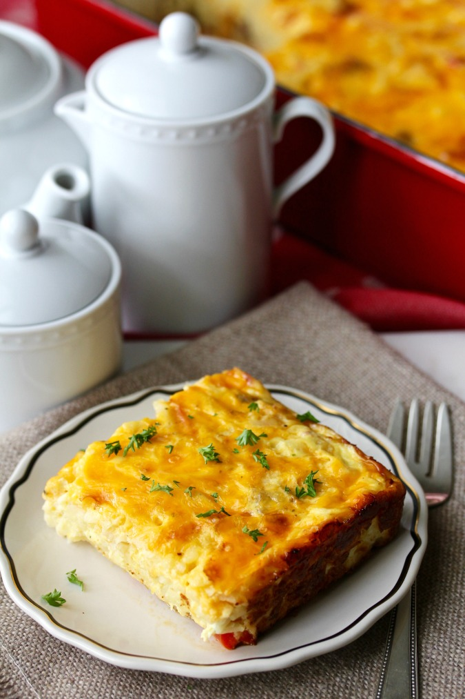 Cheesy Hash Brown Breakfast Casserole #Brunch #Casserole #Hashbrowns