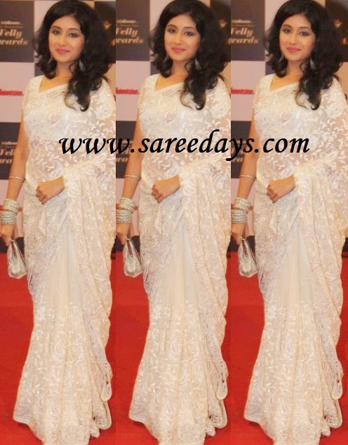 Latest Saree Designs: paridhi sharma in white embroidered ...