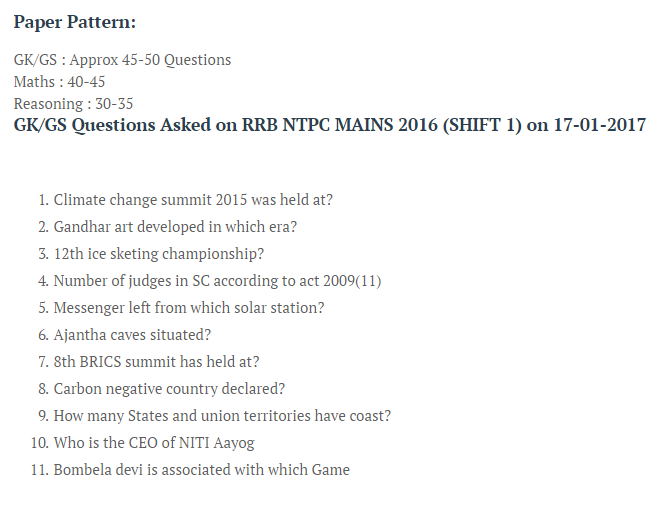 RRB NTPC Questions asked on 17- Jan- 2017 Mains Exam