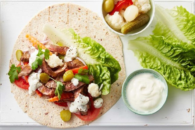 Encase mixed grain wraps with spiced beef Turkish wraps with garlic sauce recipe