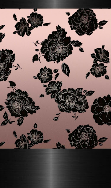 Black Lace Roses On Rose Gold Wallpaper