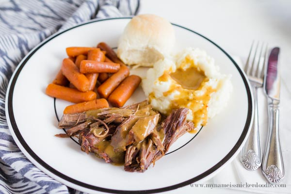 The BEST (and easiest) Sunday Roast Dinner!  It's cooked in a crock pot and is completely yummy!  |  mynameissnickerdoodle.com