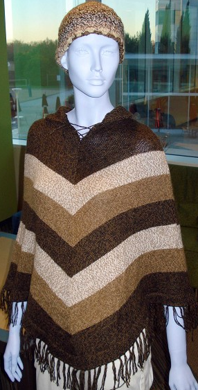 Brown Alpaca Striped Poncho