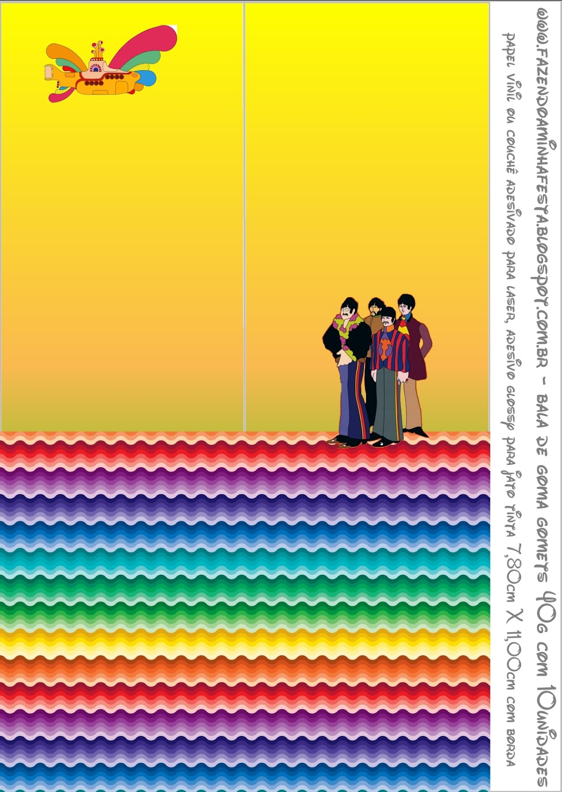 Beatles Yellow Submarine Free Printable Candy Bar Labels