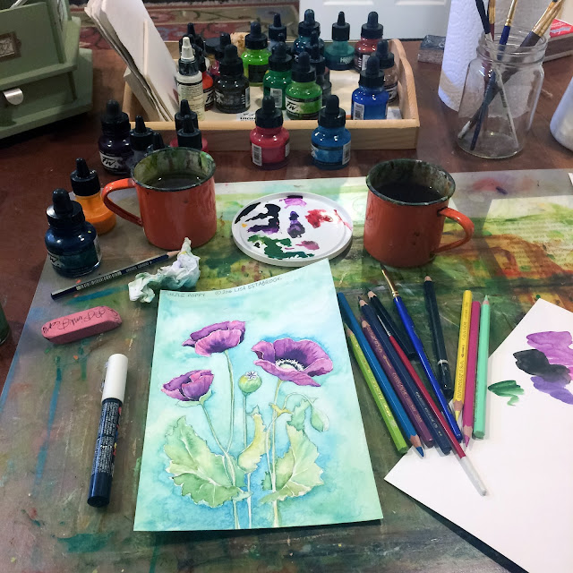 Work in Progress, Studio, Artist Studio, Work Space, Poppy, Painting, Artist, Gardener, Lisa Estabrook, Artist Interview, My Giant Strawberry