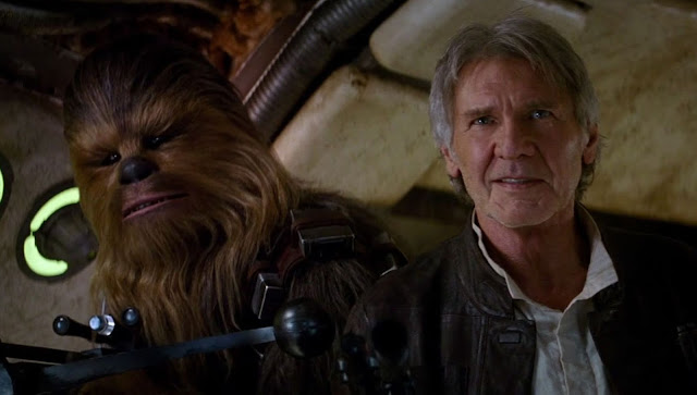 Han Solo with Chewbacca in Star Wars: The Force Awakens, Harrison Ford
