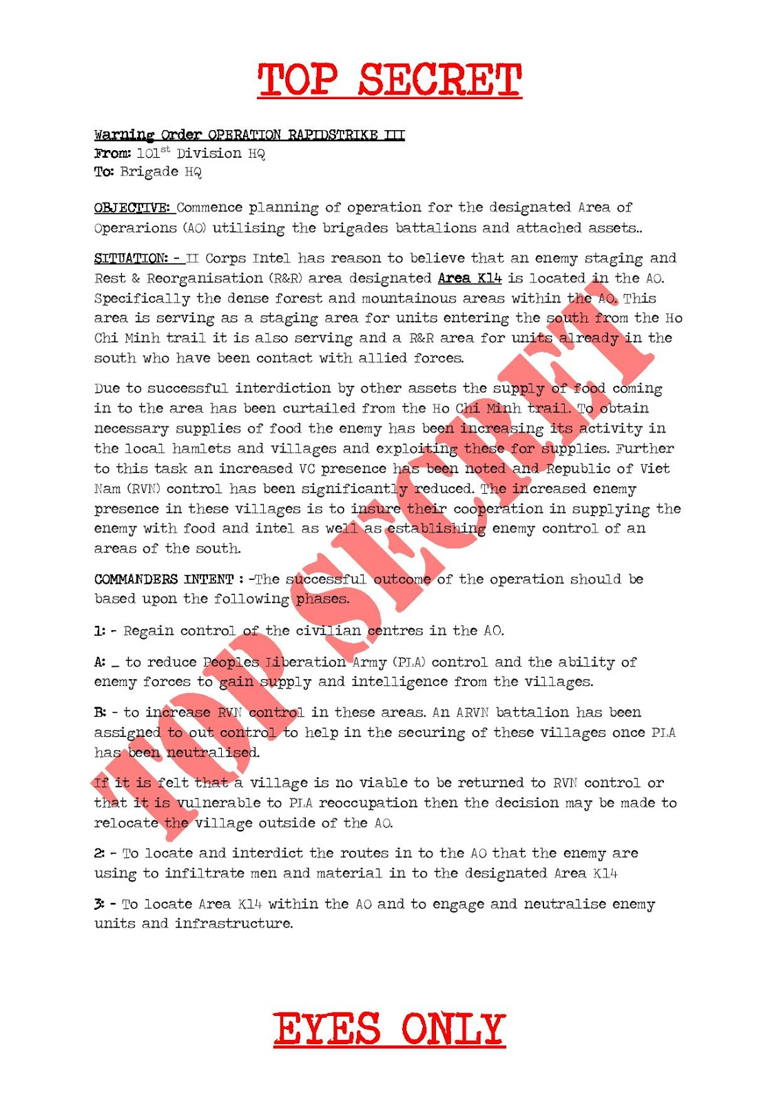 Rapidstrike III: Operation Rapidstrike III Warning Order 1