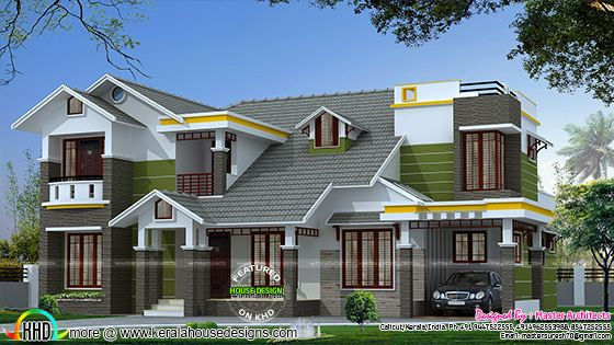 2780 sq-ft, 4 bedroom modern sloping roof house