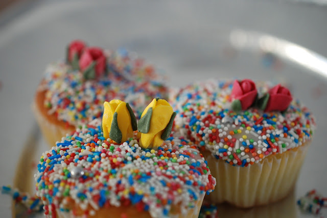 Cupcakes with tons of sprinkles on top