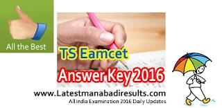 Manabadi TS Eamcet Key 2016, Telangana Eamcet Preliminary Key 2016, Eenadu Sakshi TS Eamcet Answer Key 2016,