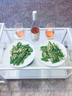 Winc Summer Water Rosé Wine and Fresh Raw Pea, Asparagus & Fava Bean Salad with Herbs recipe | brazenandbrunette.com