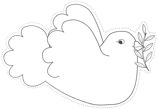 Fichas de Inglés para niños: Peace day dove printable