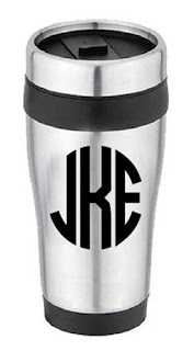 White Background Image of Travel Mug with Personalized Initials