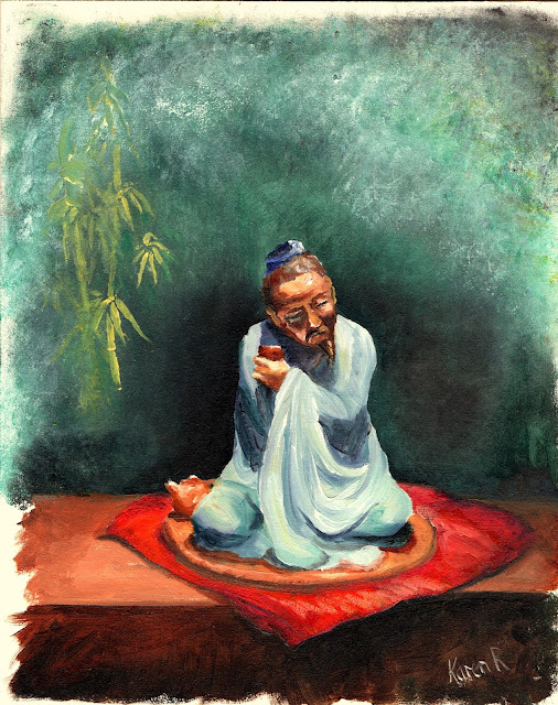 A Nice Cuppa Tea, a Zen oil painting of a figure performing the tea ceremony