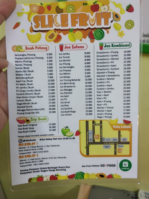 daftar harga buah slice fruit
