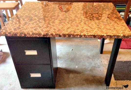 Finished desk with file cabinet and legs