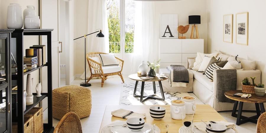 Czerń i biel w przytulnej aranżacji - wystrój wnętrz, wnętrza, urządzanie mieszkania, dom, home decor, dekoracje, aranżacje, minty inspirations, styl skandynawski, scandinavian style, biała wnętrza, małe wnętrza, małe mieszkanie, otwarta przestrzeń, czerń i biel, balck & white, naturalne drewno, naturalne materiały,