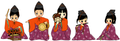 The five dolls ccompanist at the Girls' Festival. 五人囃子