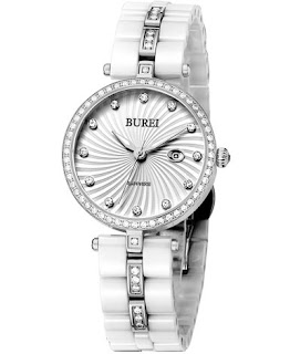 BUREI Swarovski Crystals White Ceramic Bracelet Precise Quartz Watch women – £41.99