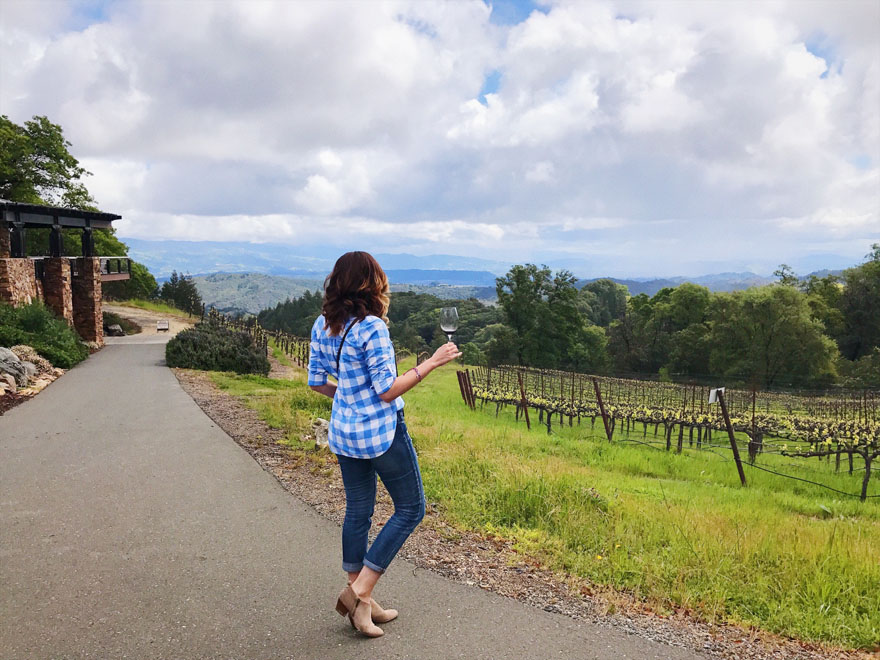 Amy West overlooking Lake Sonoma at Gustafson Family Vineyards
