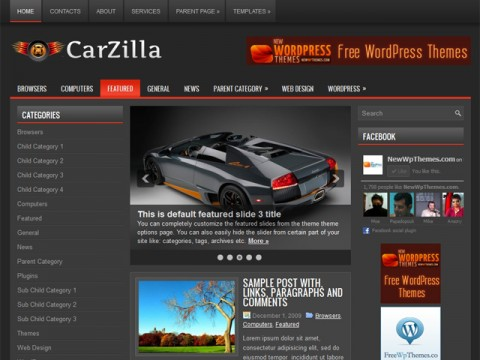 Free CarZilla - Cars WordPress Theme with Integrated Social Widgets and Automatically Updating Slideshow