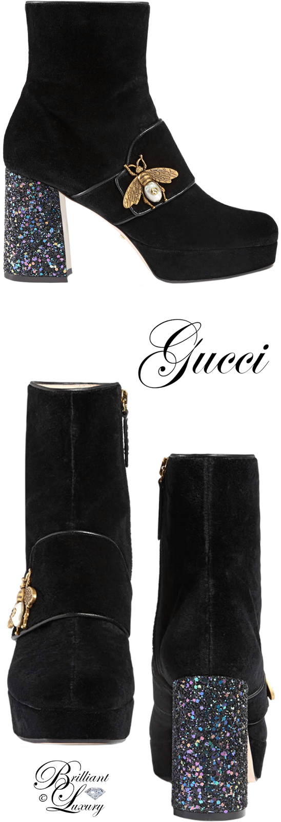 Brilliant Luxury ♦ Gucci Velvet Ankle Boot With Bee