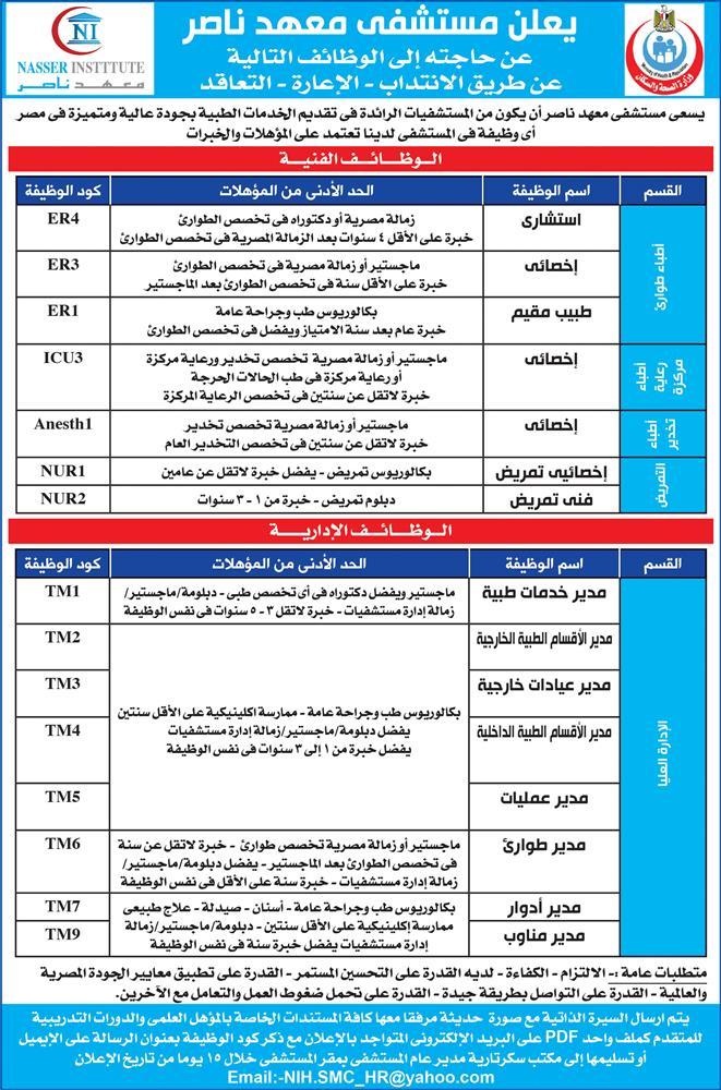 وظائف مستشفى معهد ناصر فى مصر عام 2020