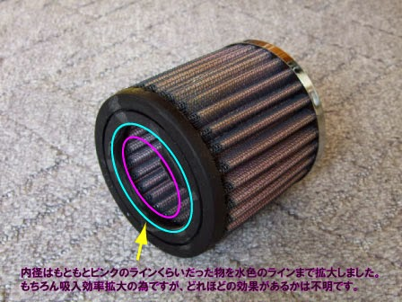 xr100モタード K&Nのリプレイスメントフィルターの加工をして吸入効率のUPを目指します。