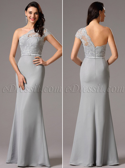 Lace One Shoulder Grey Evening Dress Formal Gown