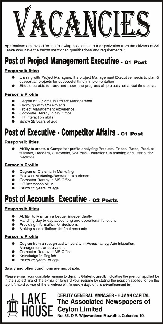 Vacancies - Project Management Executive, Executive (Competitor Affairs), Accounts Executive - Lake House