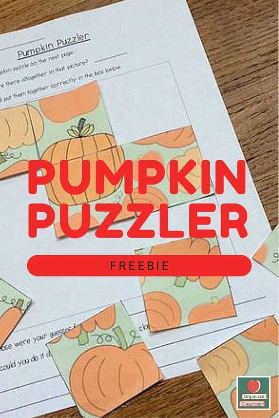 Need an easy activity for fall? Here is a Pumpkin Puzzler Activity to get your students problem solving first thing in the morning or during center time!